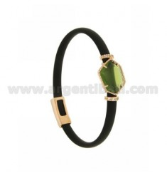 BRACELET IN BLACK RUBBER WITH IRREGULAR STONE IN HYDROTHERMAL STONE SILVER PLATED ROSE GOLD TIT 925