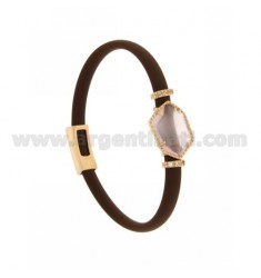 BRACELET IN RUBBER BROWN WITH IRREGULAR STONE IN HYDROTHERMAL STONE SILVER PLATED ROSE GOLD TIT 925