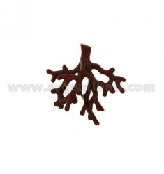 CORAL PENDANT BRANCH IN 45X47 MM AG microcast BRUNITO TIT 800 ‰ AND ENAMEL RED