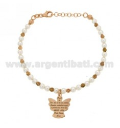 BRACELET WITH WHITE BEADS, BALLS AND ALTERNATE CENTRAL ANGEL PRAYER IN AG TIT 925 ROSE GOLD PLATED