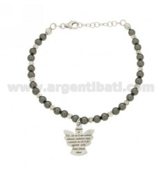 BRACELET WITH BEADS GREY, BALLS AND ALTERNATE CENTRAL ANGEL PRAYER IN AG TIT 925 RHODIUM