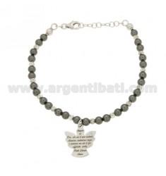 Pulsera con perlas de GRIS, bolas y suplentes del ángel del rezo CENTRAL EN RODIO AG TIT 925