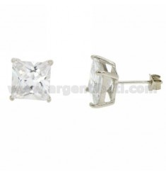 OHRRINGE WEISS 8X8 MM ZIRCONE SQUARE IN AG TIT RODIATO 925 ‰