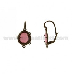 MONACHELLA EARRINGS WITH STONE HYDROTHERMAL SASSO COLOR PINK AND 16 IN AG ZIRCONIA GOLD PLATED OLD ROSE TIT 925 ‰