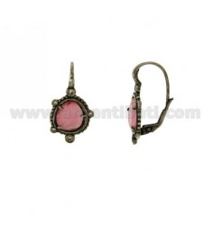 MONACHELLA EARRINGS WITH STONE HYDROTHERMAL SASSO COLOR PINK AND 16 IN ZIRCONIA AG RODIATO ANCIENT TIT 925 ‰