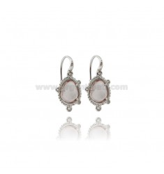 MONACHELLA EARRINGS WITH STONE HYDROTHERMAL SASSO COLOR LILAC 29 ZIRCONIA IN ANCIENT AG RODIATO TIT 925 ‰