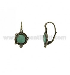 MONACHELLA EARRINGS WITH STONE HYDROTHERMAL SASSO COLOR GREEN AND 40 IN ZIRCONIA AG RODIATO ANCIENT TIT 925 ‰