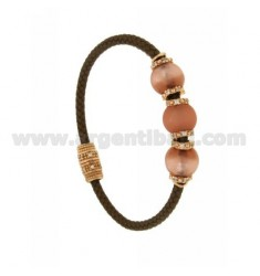 BRACELET LEATHER BRAID 3 HANDS WITH 3 MM MM 10 11 E ZIRCONIA PINK ROSE GOLD PLATED IN AG TIT 925 ‰ MAGNETIC CLOSURE
