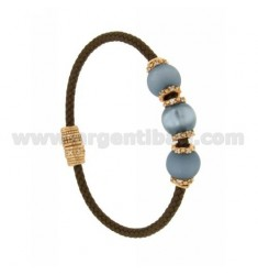 BRACELET LEATHER BRAID MM 3 3 HANDS WITH 10 MM LIGHT BLUE ZIRCONIA POWDER 2 AND ROSE GOLD PLATED IN AG TIT 925 ‰ MAGNETIC CLOSUR