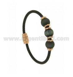 BRACELET LEATHER BRAID 3 HANDS WITH 3 MM MM 10 58 DARK GREY AND PINK GOLD PLATED ZIRCONIA IN AG TIT 925 ‰ MAGNETIC CLOSURE