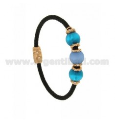 BRACELET LEATHER BRAID 3 HANDS WITH 3 MM MM 10 65 TURQUOISE COLOR AND ZIRCONIA IN AG TIT PLATED ROSE GOLD 925 ‰ MAGNETIC CLOSURE