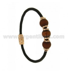 BRACELET LEATHER BRAID 3 HANDS WITH 3 MM MM 10 68 BROWN AND PINK GOLD PLATED ZIRCONIA IN AG TIT 925 ‰ MAGNETIC CLOSURE
