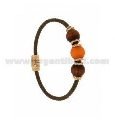 BRACELET LEATHER BRAID 3 HANDS WITH 3 MM MM 10 10 ORANGE AND PINK GOLD PLATED ZIRCONIA IN AG TIT 925 ‰ MAGNETIC CLOSURE