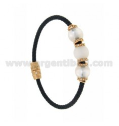 BRACELET LEATHER BRAID 3 HANDS WITH 3 MM MM 10 8 WHITE AND PINK GOLD PLATED ZIRCONIA IN AG TIT 925 ‰ MAGNETIC CLOSURE