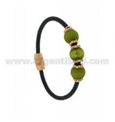 BRACELET LEATHER BRAID MM 3 3 HANDS WITH 10 MM GREEN OLIVE AND 9 ZIRCONIA IN AG TIT PLATED ROSE GOLD 925 ‰ MAGNETIC CLOSURE
