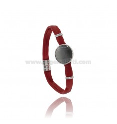 BRACELET LEATHER BORDEAUX, CENTRAL WITH STONE ROUND HYDROTHERMAL, ZIRCONIA AND MAGNETIC CLOSURE IN ANCIENT AG RODIATO TIT 925 ‰