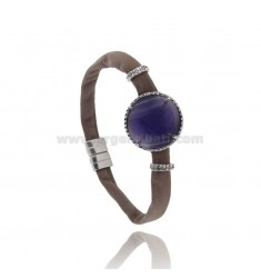 BRACELET GREY LEATHER, CENTRAL WITH STONE ROUND HYDROTHERMAL, ZIRCONIA AND MAGNETIC CLOSURE IN ANCIENT AG RODIATO TIT 925 ‰
