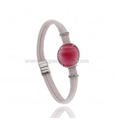 LEATHER BRACELET PINK, CENTRAL WITH STONE ROUND HYDROTHERMAL, ZIRCONIA AND MAGNETIC CLOSURE IN ANCIENT AG RODIATO TIT 925 ‰