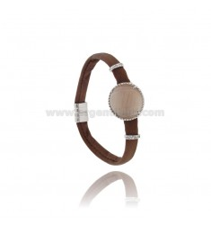 BRACELET BROWN SKIN, CENTRAL WITH STONE ROUND HYDROTHERMAL, ZIRCONIA AND MAGNETIC CLOSURE IN ANCIENT AG RODIATO TIT 925 ‰