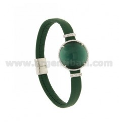 LEATHER BRACELET GREEN, CENTRAL WITH STONE ROUND HYDROTHERMAL, ZIRCONIA AND MAGNETIC CLOSURE IN ANCIENT AG RODIATO TIT 925 ‰