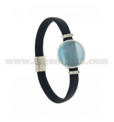 LEATHER BRACELET BLUE, CENTRAL WITH STONE ROUND HYDROTHERMAL, ZIRCONIA AND MAGNETIC CLOSURE IN ANCIENT AG RODIATO TIT 925 ‰