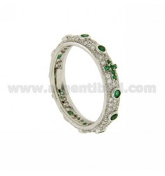 RING TYPE ZIRCONIA ROSARY WITH GREEN IN AG TIT RHODIUM 925 ‰ MIS 18