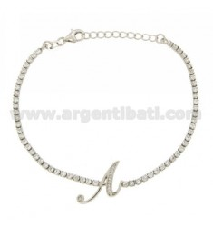 TENNIS BRACELET WITH A LETTER IN SILVER RHODIUM TIT 925 ‰ CM 17.20