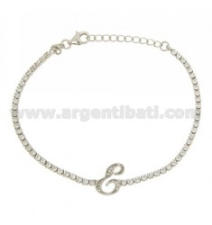 TENNIS BRACELET WITH LETTER AND SILVER RHODIUM TIT 925 ‰ CM 17.20