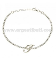TENNIS BRACELET WITH THE LETTER IN SILVER RHODIUM TIT 925 ‰ CM 17.20