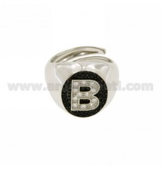 PINKY RING LETTER B WITH ZIRCONIA WHITE AND BLACKS IN SILVER RHODIUM TIT 925 ‰ MIS ADJUSTABLE 10