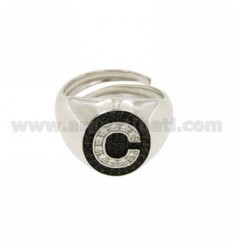 PINKY RING LETTER C WITH ZIRCONIA WHITE AND BLACKS IN SILVER RHODIUM TIT 925 ‰ MIS ADJUSTABLE 10