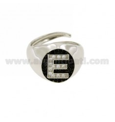 PINKY RING AND LETTER WITH ZIRCONIA WHITE AND BLACKS IN SILVER RHODIUM TIT 925 ‰ MIS ADJUSTABLE 10