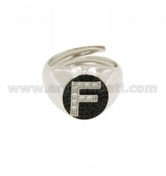 PINKY RING WITH LETTER F ZIRCONIA WHITE AND BLACKS IN SILVER RHODIUM TIT 925 ‰ MIS ADJUSTABLE 10