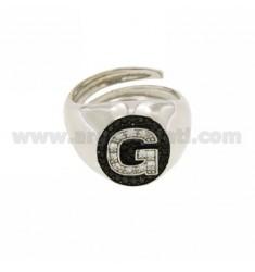 FINGER.RING.Buchstabe G mit Zirkonia weiß und schwarz In silber rhodium TIT 925 ‰ MIS ADJUSTABLE 1O