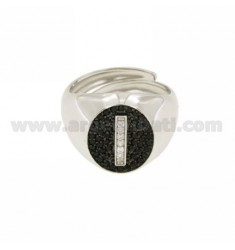 PINKY RING LETTER I WITH ZIRCONIA WHITE AND BLACKS IN SILVER RHODIUM TIT 925 ‰ MIS ADJUSTABLE 1O