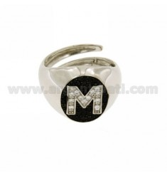 RING MIGNOLO LETTER M WITH ZIRCONIA WHITE AND BLACKS IN SILVER RHODIUM TIT 925 ‰ MIS ADJUSTABLE 10