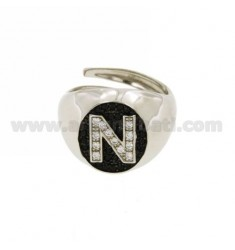 PINKY RING LETTER N WITH ZIRCONIA WHITE AND BLACKS IN SILVER RHODIUM TIT 925 ‰ MIS ADJUSTABLE 10