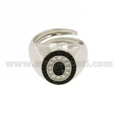 PINKY RING LETTER O WITH ZIRCONIA WHITE AND BLACKS IN SILVER RHODIUM TIT 925 ‰ MIS ADJUSTABLE 10