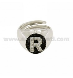 PINKY RING LETTER R WITH ZIRCONIA WHITE AND BLACKS IN SILVER RHODIUM TIT 925 ‰ MIS ADJUSTABLE 10