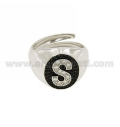 PINKY RING LETTER S WITH ZIRCONIA WHITE AND BLACKS IN SILVER RHODIUM TIT 925 ‰ MIS ADJUSTABLE 10