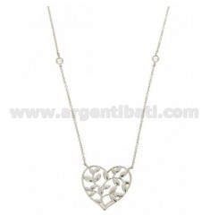 CHAIN CABLE CM 42.45 HEART WITH CENTRAL AND LAUREL IN SILVER RHODIUM TIT 925 ‰ AND ZIRCONIA