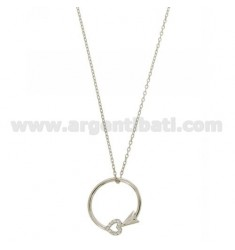 CHAIN CABLE CM 42.45 ARROW WITH CENTRAL HEART SILVER RHODIUM TIT 925 ‰ E ZIRCONS
