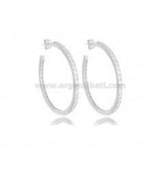 HOOP EARRINGS INTERNAL DIAMETER 30 MM WITH ZIRCONS IN SILVER RHODIUM-PLATED TIT 925