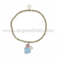 Bangle Bracelet 3 MM BALL WITH ANGEL IN SILVER RHODIUM TIT 925 ‰ AND POLISH