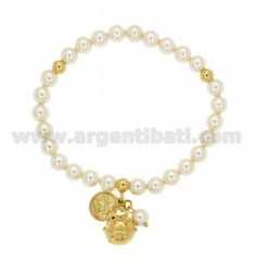ELASTIC BRACELET WITH PEARLS MM 6, BELL AND ANGEL IN GOLD PLATED TIT 925 ‰