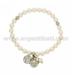 ELASTIC BRACELET WITH PEARLS MM 6, BELL AND ANGELO SILVER RHODIUM TIT 925 ‰