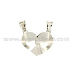 PENDANT HEART DIVIDED SMOOTH ROUNDED SILVER RHODIUM 925 ‰