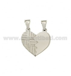 PENDANT HEART DIVIDED SMOOTH LOVE SILVER RHODIUM 925 ‰