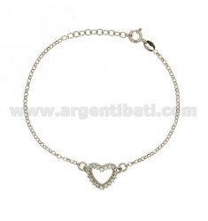 ROLO BRACELET 'HEART SHAPE WITH ZIRCONIA IN AG RHODIUM TIT 925 ‰ CM 18