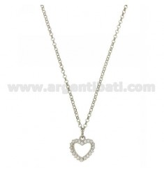 ROLO CHAIN &39HEART SHAPE WITH ZIRCONIA IN AG TIT RHODIUM 925 ‰ CM 40